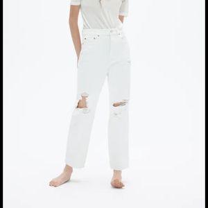 Zara white destroyed high rise straight leg jeans